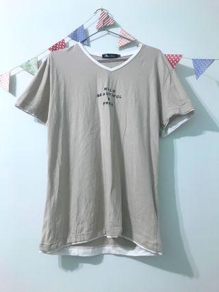 淺棕色假兩件T恤