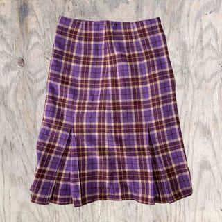 紫格短裙✔氣質×毛料×古著×冬天必備