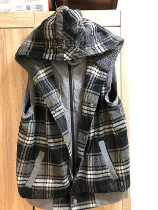 BIG TRAIN 假兩件式鋪棉背心外套