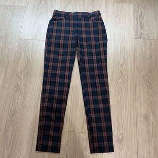 格紋直筒褲