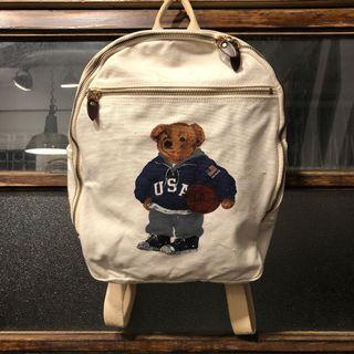 🌴90s POLO RALPH LAUREN POLO熊 米色厚磅帆布後背包 男女皆可Vintage 歐美帶回古著