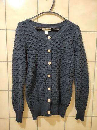 【二手】深藍色針織外套/罩衫(魚鱗針織造型)