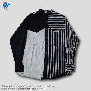 古著美製圓領黑白直條紋襯衫