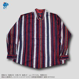古著美式JOHN ASHFORD純棉直條碼襯衫