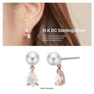 H.K DC 玫瑰金水滴貝珠耳環