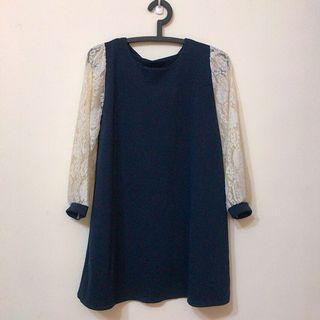 雪紡洋裝 蕾絲 拼接材質 長袖洋裝裙  深藍色 秋冬款 #出清2019