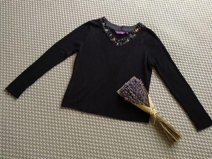 毛衣 黑緞寶石飾領(有實穿照)