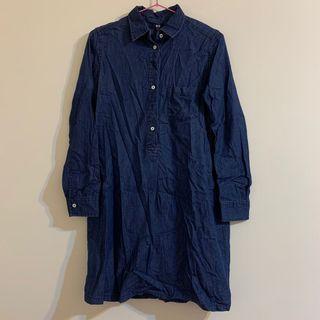 Uniqlo 長版牛仔長袖襯衫洋裝M