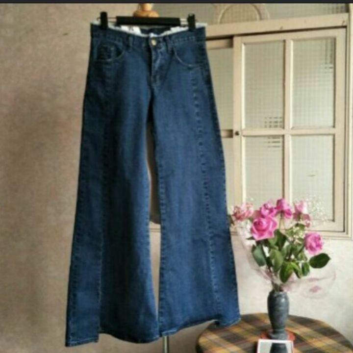 韓系流蘇高腰寬褲牛仔褲喇叭褲顯瘦顯高長褲