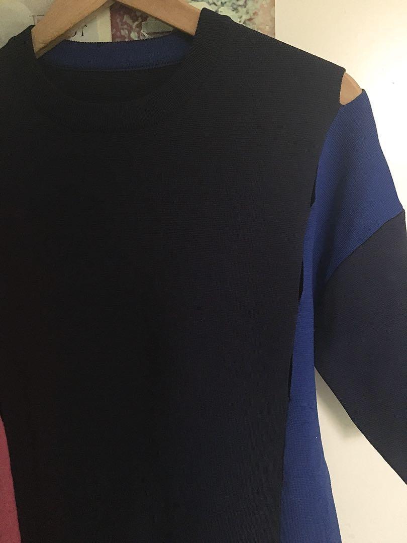 Alexander Wang Navy Colour-Blocked Shift Dress, Size L BNWOT