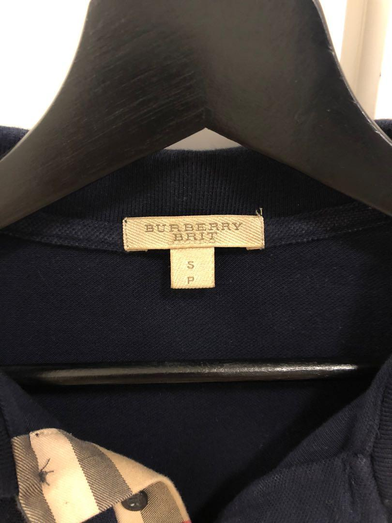 Authentic Men's Burberry Navy Check Placket Polo Shirt - S