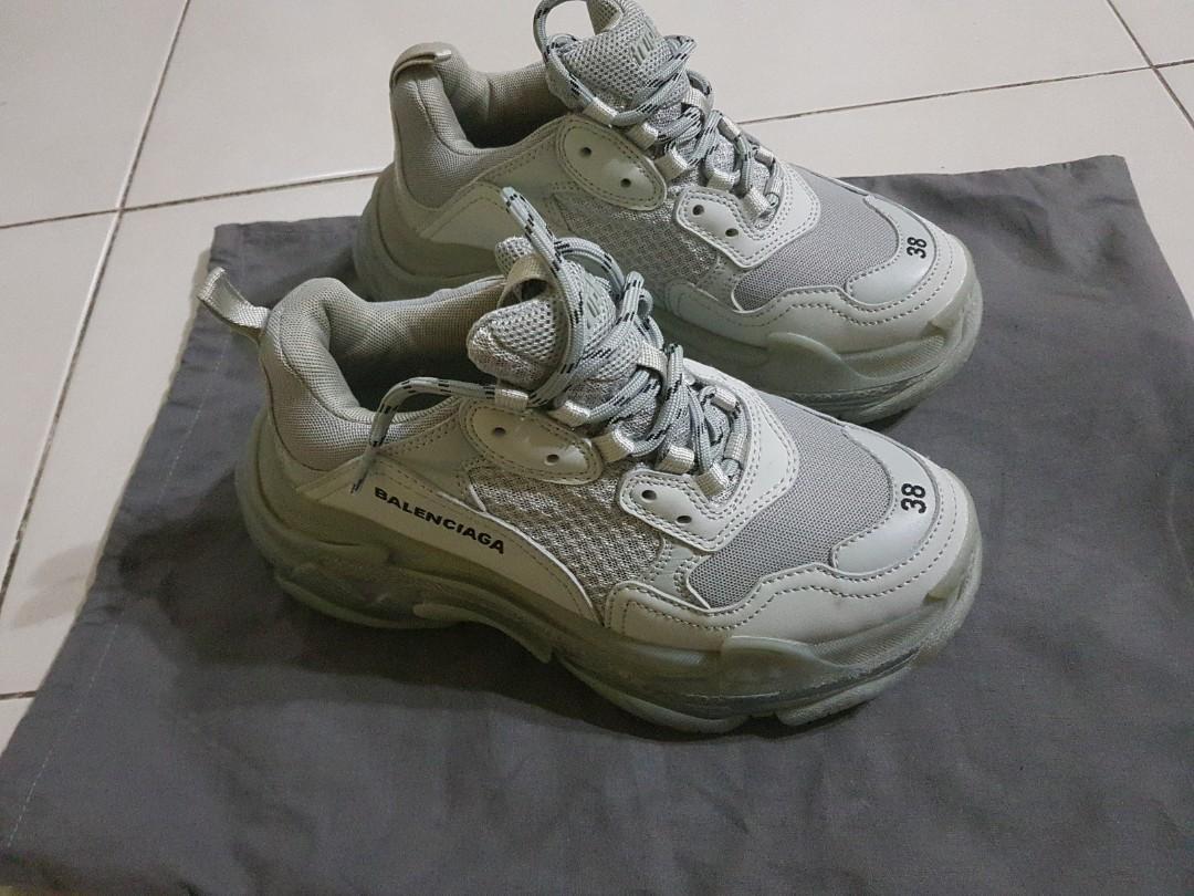 balenciaga triple s sneakers white blue