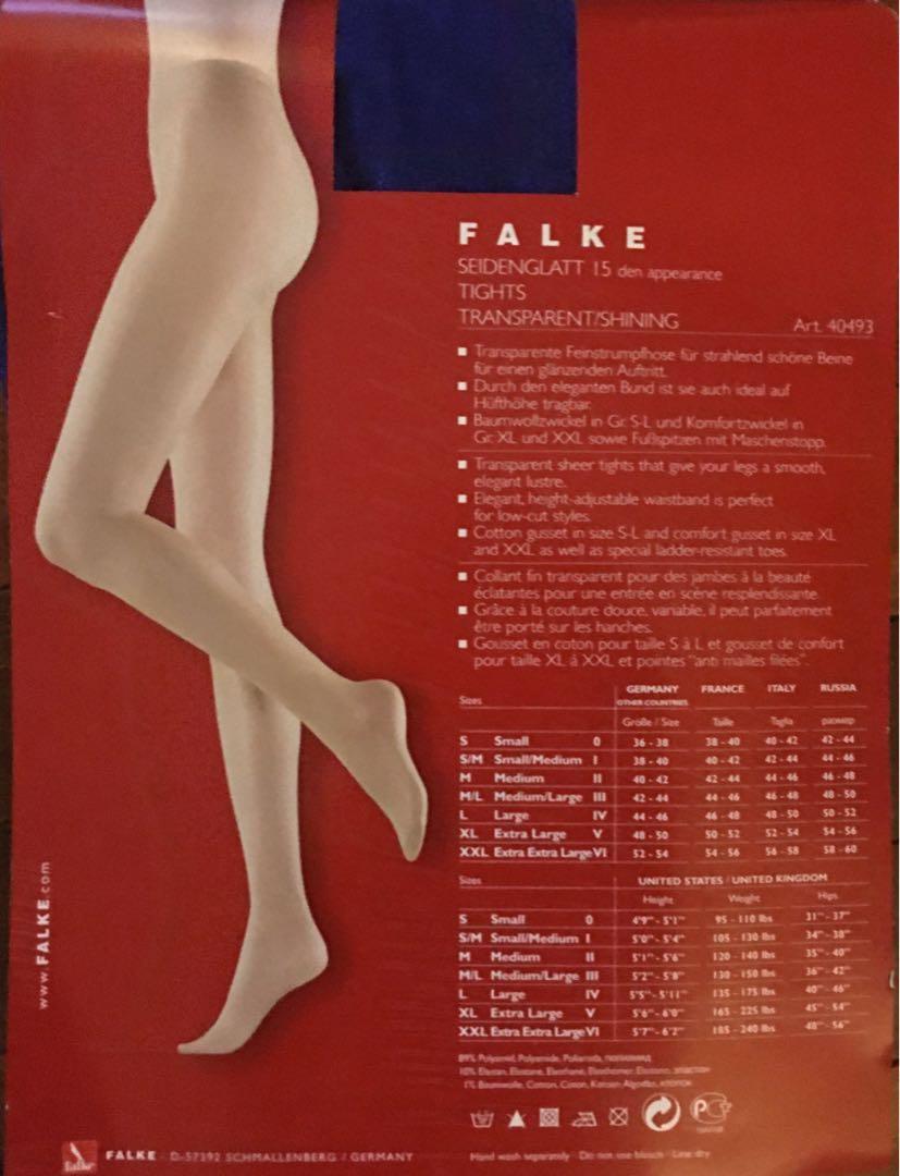 BLUE FALKE SEIDENGLATT 15 QUALITY Transparent Shining Tights
