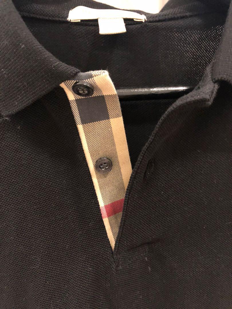 Brand New Authentic Burberry Black Check Polo Shirt - M