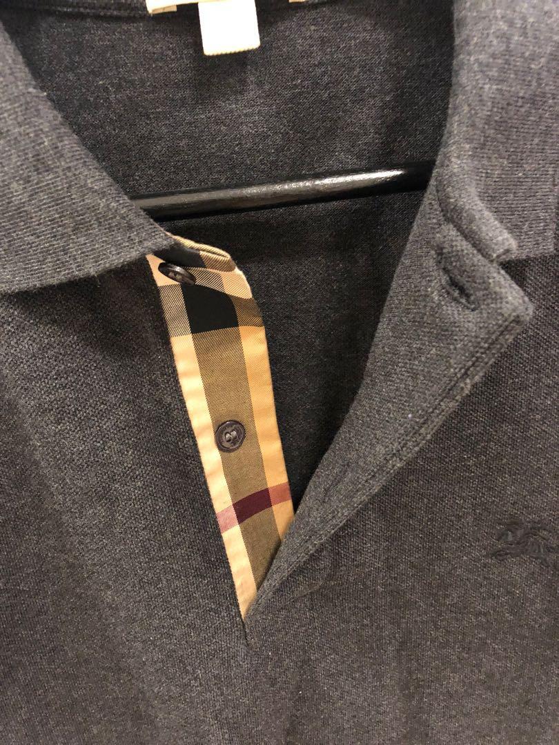 Brand New Authentic Burberry Dark Grey Check Polo - M