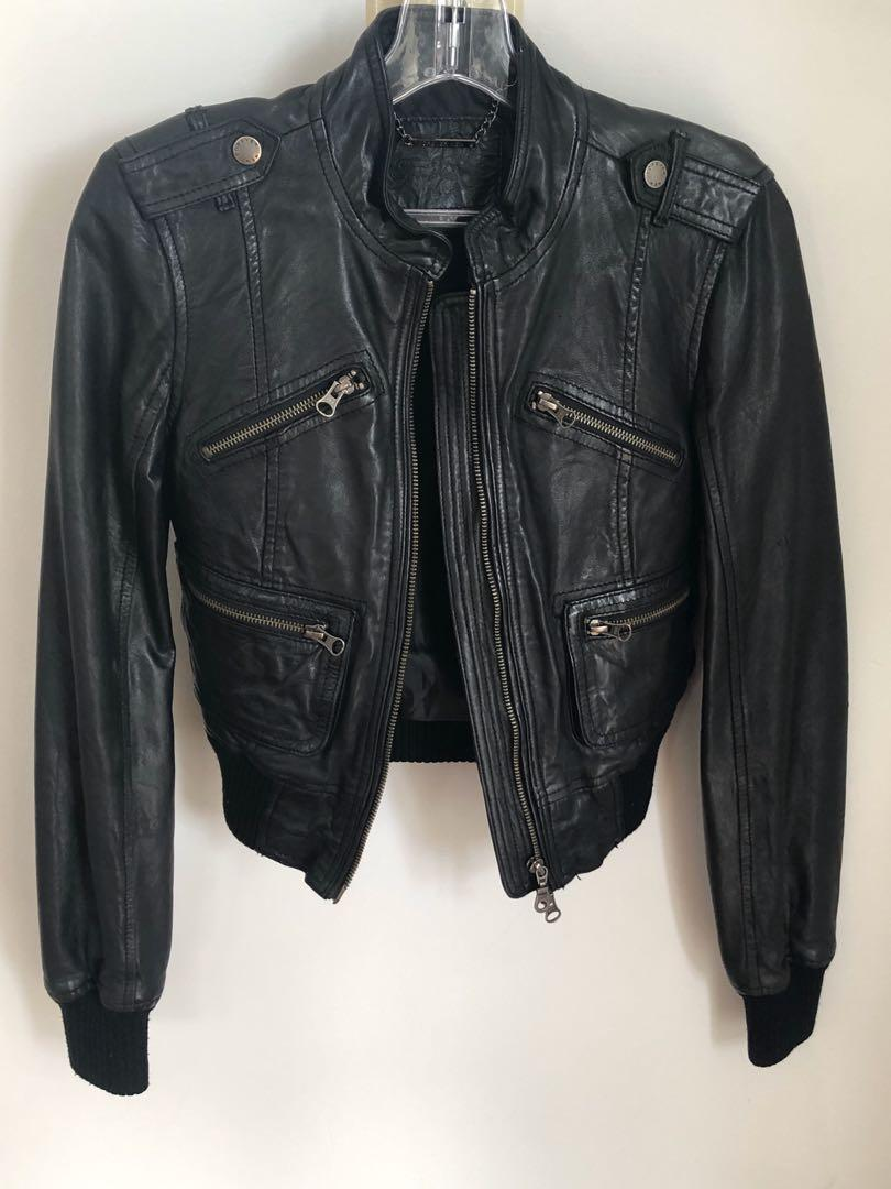 Brand New Forever New - 100% Leather Fitted Bomber Jacket. Size 6