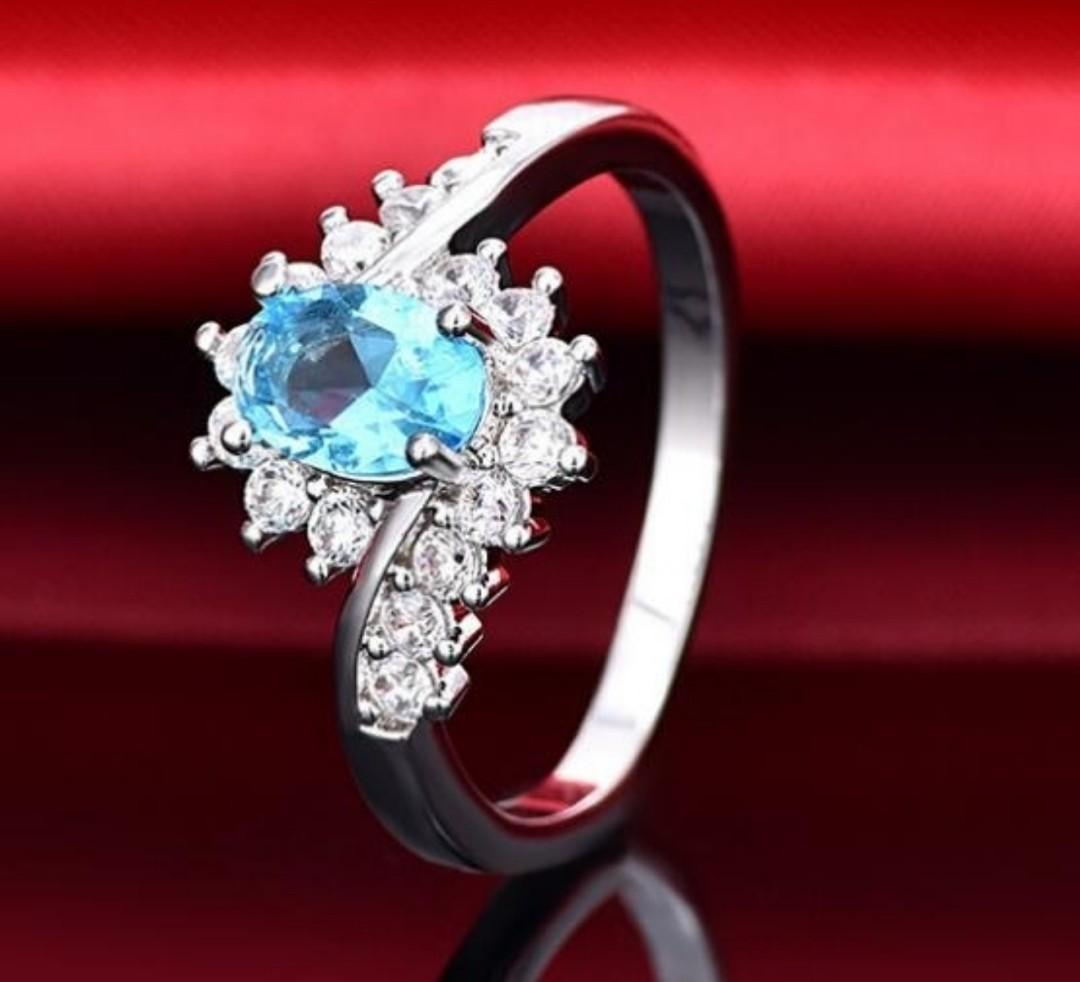 Exquisite 925 Sterling Silver Natural Aquamarine Sapphire Gemstone Princess Engagement Ring