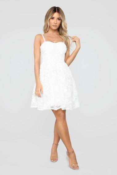 Fashion Nova Romantic Night Out Fit and Flare Dress - White