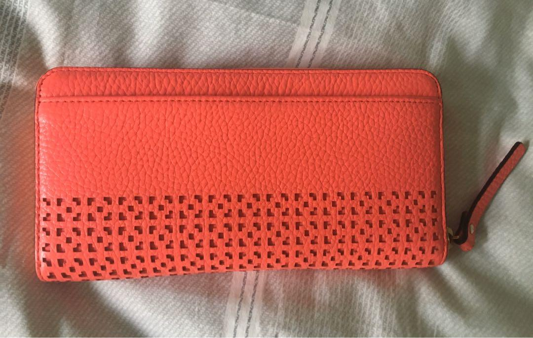 Kate Spade Coral 'Neda' Wakefield Lane Leather Zip Around Wallet- As New