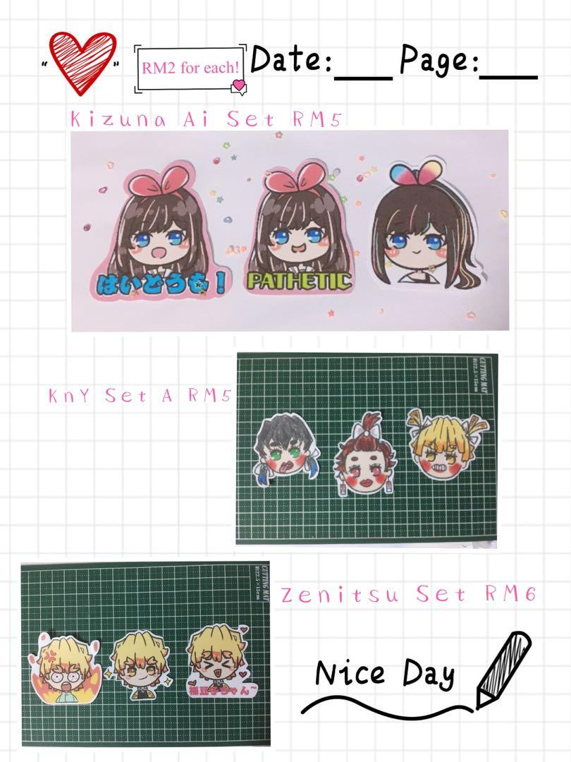 Kizuna Ai stickers Kimetsu no Yaiba Demon Slayer stickers