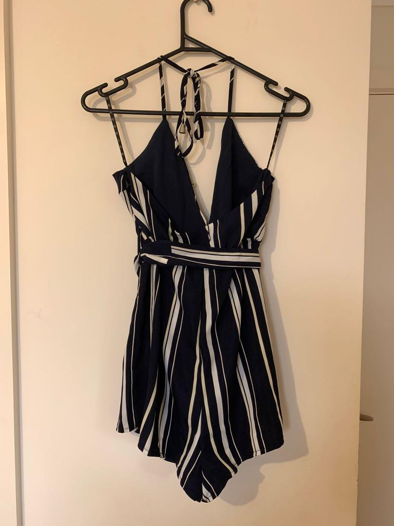 Missguided striped halter neck playsuit - Navy stripes