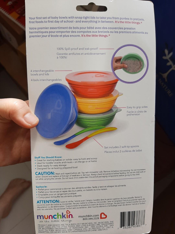 Munchkin Bowl Set 10 Piece Baby Toddler Feeding Spoons Lid Food Dishwasher Safe