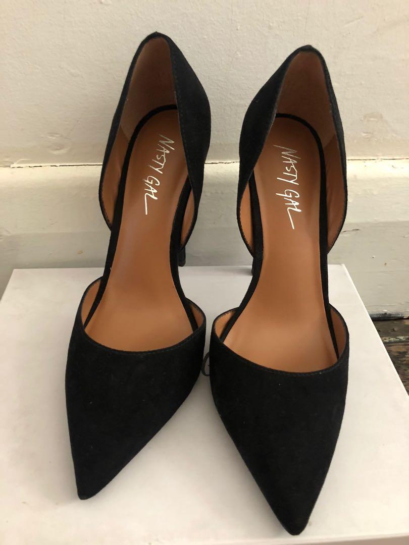 Nasty Gal D'Orsay Suede Black Pumps Heels Stillettos 7.5
