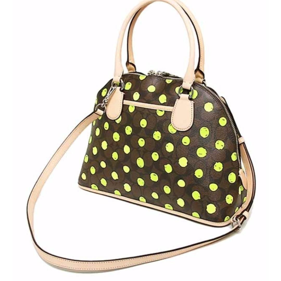 NEW Coach F33260 Women's Signature Cora Domed Satchel Crossbody Sling Handbag Bag (Brown) [Slightly Defective]