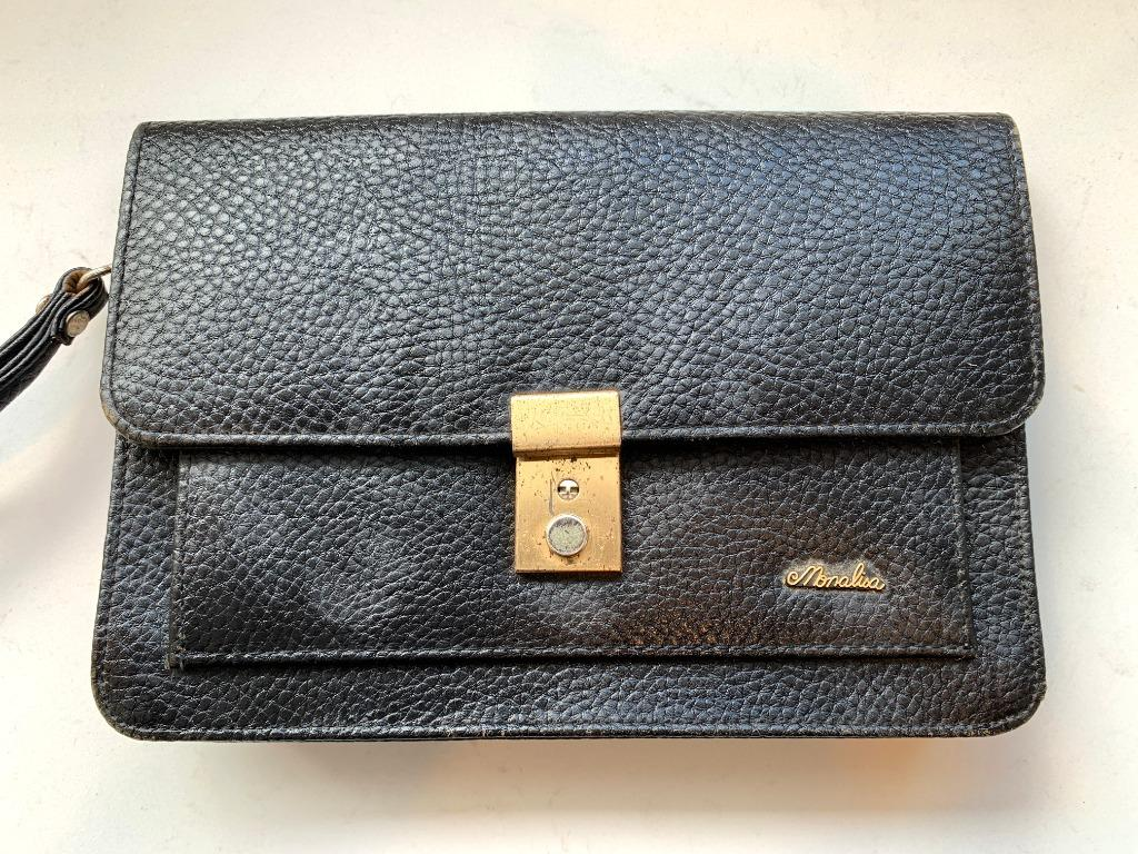 Personal Mens Handbag Black Leather Pouch Bag for Men