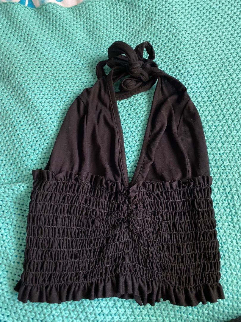 Pretty little thing black halter neck tie crop top