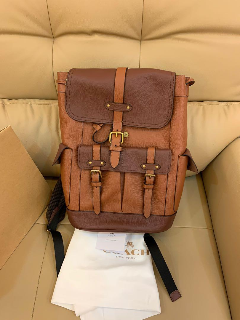 Ready stock authentic coach 49543 traveller bag backpack Hudson backpack in colour block brown hbbnjjj