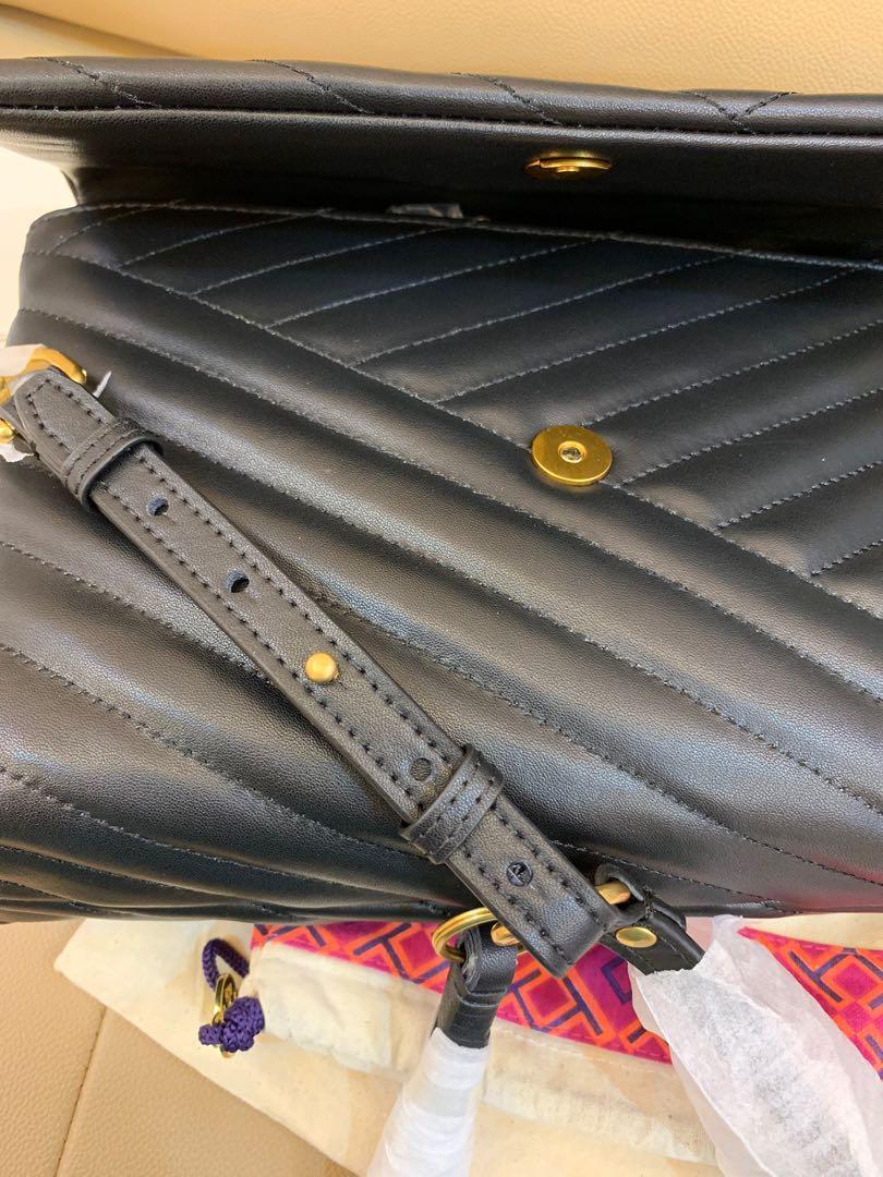 Ready Stock authentic Tory Burch Kira chelvron sling bag calf leather in black hbbjbb