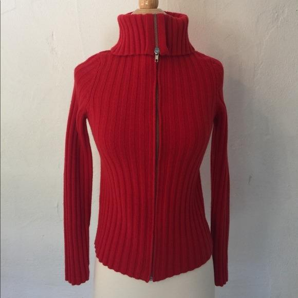 Sandro Red Zip-Front Cardigan, Size 0 (AU 6/XS)- As New