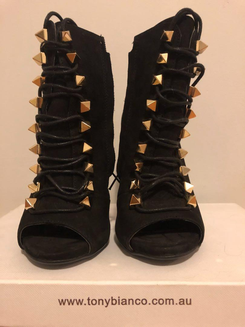 Tony Bianco Lace up Ankle Boots Genuine Suede Leather Size 5