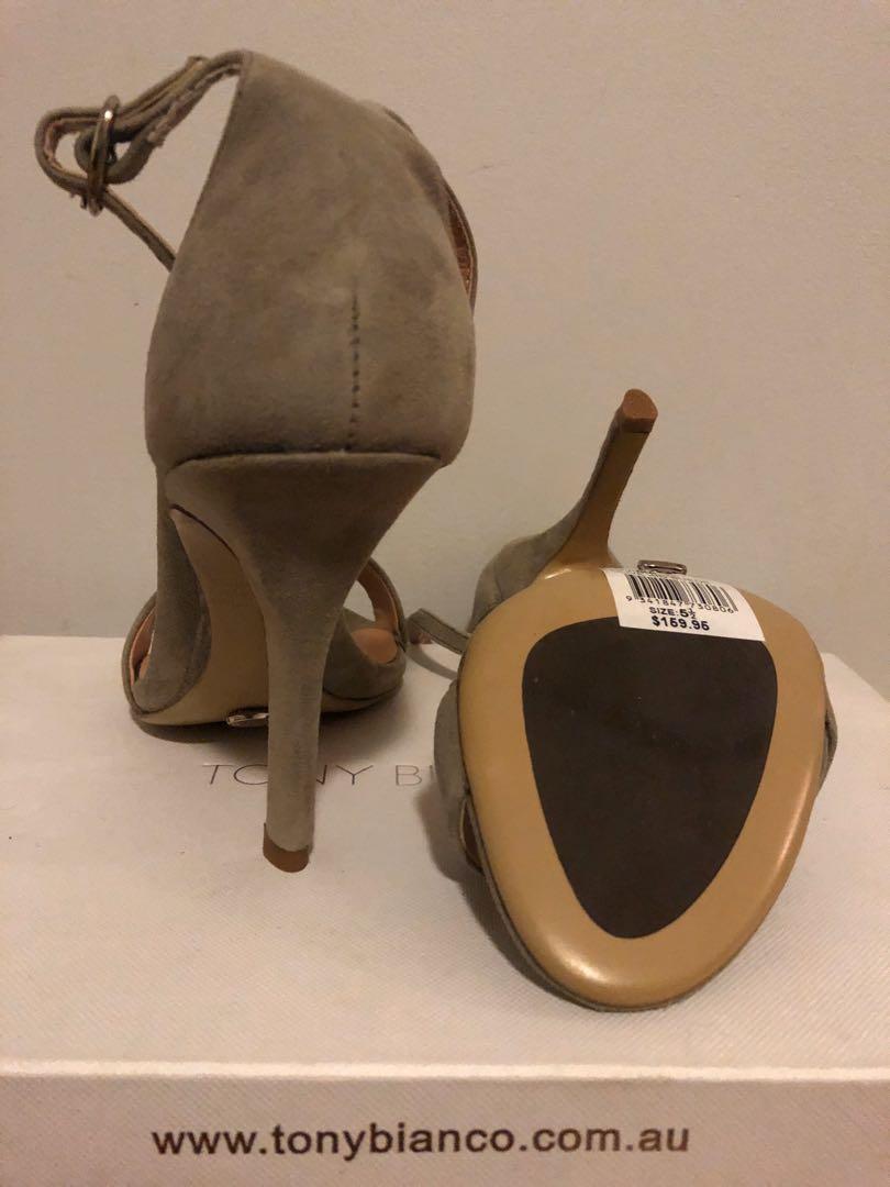 Tony Bianco Lovinia Olive Suede Strappy Leather Heels. Size 5.5