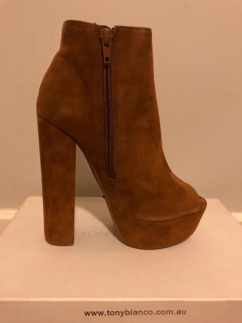 Tony Bianco Tan Suede Leather Peep Toe Platform Ankle Boots