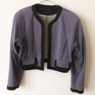 絨面 氣質 小外套 可愛 女生 短版 日系 可愛 外套 西裝 復古 古著 #出清2019
