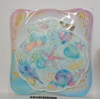 #newstart沖繩帶回 全新超美精緻貝殼型暈染海洋美人魚風仿皮革小立鏡 隨身鏡 化妝鏡 特價