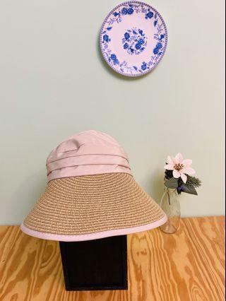 全新粉色後綁帶遮陽帽#出清2019