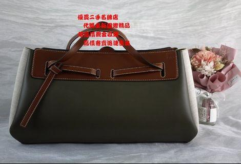 ☆優買二手名牌店☆ LOEWE 新款 LAZO EAST WEST 全皮 牛皮 帆布 手提包 波士頓包 手挽包 展示品