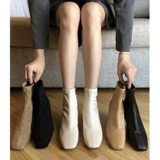 韓版新款方頭低跟短靴·米杏色39