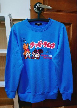 只有1件🎌JP 日本帶回 日系 Doublefocus 兔子松鼠圖案 藍色 長袖T恤 大學T 街頭 潮流 寬鬆 可愛 童趣