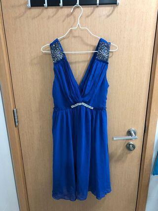 Preloved Blue V-Necked Sleeveless Dress
