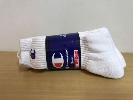 Champion 厚長襪 男 3 雙入 日本版 jp25~27cm  白