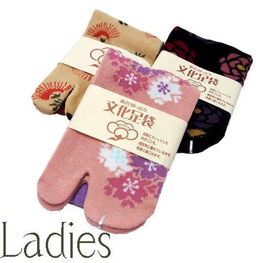 日本購入鞠櫻和柄二趾襪一雙 23~25碼可穿
