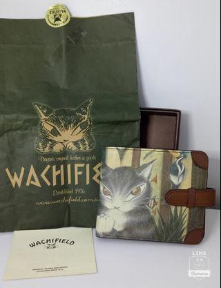💯日製Wachi field 瓦齊菲爾得 達洋貓手工彩繪全真皮短夾 🙋🏻保證日本製