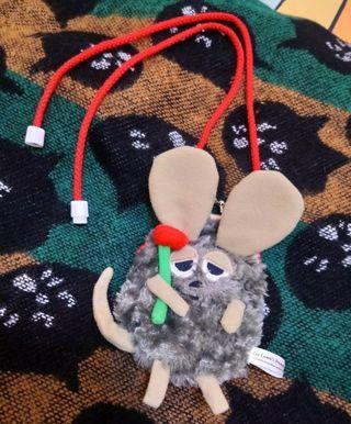 只有1個🎶正版🎌JP 日本帶回 日系 古著 田鼠阿佛 絨毛 灰色 珠扣式零錢包 小物包 掛式 可愛 童趣