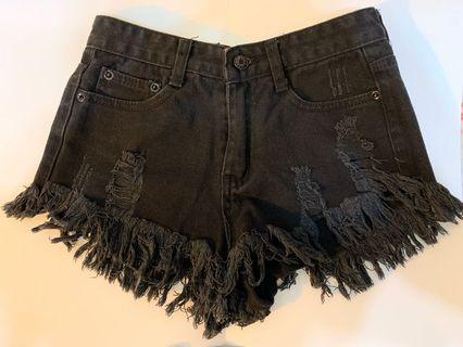 黑色牛仔短褲#出清2019