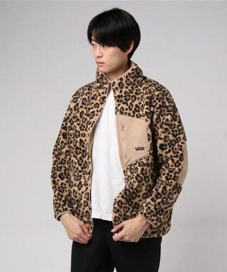 日本正品代購vans毛毛外套羔羊外套雙面兩穿外套泰迪熊外套黑色迷彩豹紋外套立領外套日本流行abc