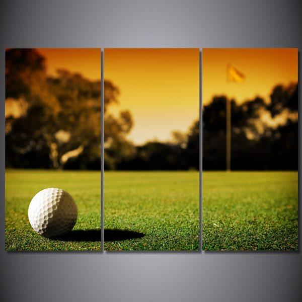5 Panel Golf Course Grass Land Painting Canvas Wall Art😊